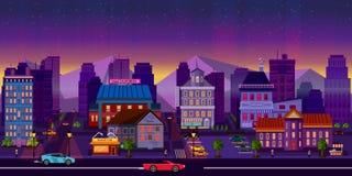 Εικονική παράσταση πόλης νύχτας, αίθουσα επίσης corel σύρετε το διάνυσμα απεικόνισης Στοκ φωτογραφία με δικαίωμα ελεύθερης χρήσης