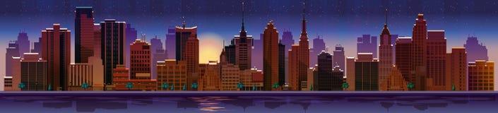Εικονική παράσταση πόλης νύχτας, αίθουσα επίσης corel σύρετε το διάνυσμα απεικόνισης Στοκ Εικόνες