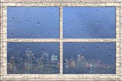 Εικονική παράσταση πόλης πλαισίων παραθύρων Στοκ φωτογραφίες με δικαίωμα ελεύθερης χρήσης