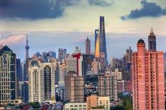 Εικονική παράσταση πόλης Σαγκάη Κίνα ουρανοξυστών κτηρίων Pudong Puxi Στοκ φωτογραφίες με δικαίωμα ελεύθερης χρήσης