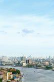 Εικονική παράσταση πόλης Ταϊλάνδη της Μπανγκόκ ποταμών Phraya Chao Στοκ εικόνες με δικαίωμα ελεύθερης χρήσης