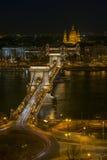 Εικονική παράσταση πόλης της Βουδαπέστης τη νύχτα Στοκ Εικόνα