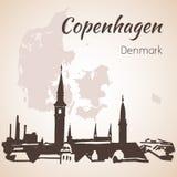 Εικονική παράσταση πόλης της Κοπεγχάγης, Δανία απεικόνιση αποθεμάτων