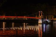 Εικονική παράσταση πόλης της Λυών, Γαλλία τη νύχτα Στοκ φωτογραφία με δικαίωμα ελεύθερης χρήσης