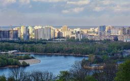 Εικονική παράσταση πόλης του Κίεβου και ποταμός Dnieper, Ουκρανία Στοκ Φωτογραφίες