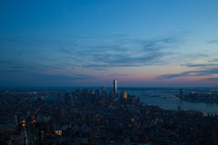 Εικονική παράσταση πόλης του Μανχάταν (Νέα Υόρκη) στο ηλιοβασίλεμα Στοκ εικόνες με δικαίωμα ελεύθερης χρήσης
