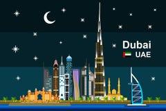 Εικονική παράσταση πόλης του Ντουμπάι τη νύχτα Στοκ Εικόνα