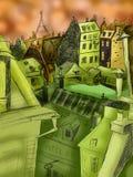 Εικονική παράσταση πόλης του Παρισιού. Χρωματισμένο σχέδιο Στοκ φωτογραφία με δικαίωμα ελεύθερης χρήσης