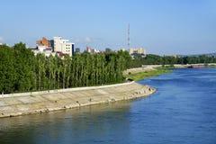 Εικονική παράσταση πόλης του ποταμού του Ιρκούτσκ και Angara Στοκ Φωτογραφία