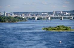 Εικονική παράσταση πόλης του ποταμού του Ιρκούτσκ και Angara Στοκ φωτογραφίες με δικαίωμα ελεύθερης χρήσης