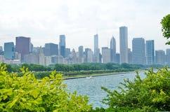 Εικονική παράσταση πόλης του Σικάγου με τους ουρανοξύστες, λίμνη Μίτσιγκαν Στοκ Εικόνες