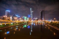 Εικονική παράσταση πόλης του Ho Chi Minh τη νύχτα Στοκ εικόνες με δικαίωμα ελεύθερης χρήσης