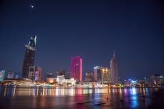 Εικονική παράσταση πόλης του Ho Chi Minh τη νύχτα Στοκ Εικόνες
