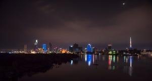 Εικονική παράσταση πόλης του Ho Chi Minh τη νύχτα Στοκ Φωτογραφία
