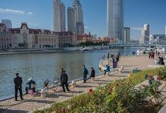 Εικονική παράσταση πόλης των ανθρώπων σε Jinwan Plaza (Jinwan Guangchang) Στοκ Εικόνα