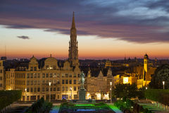 Εικονική παράσταση πόλης των Βρυξελλών από Monts des Arts Στοκ Εικόνες