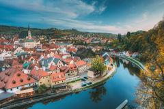Εικονική παράσταση πόλης Cesky Krumlov, Τσεχία Φθινόπωρο Στοκ Εικόνες