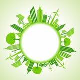 Εικονική παράσταση πόλης Eco γύρω από τον κύκλο Στοκ Εικόνα