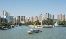 Εικονική παράσταση πόλης Hai αυτός ποταμός με τα σύγχρονα κτήρια πλησίον από Tianjin Στοκ εικόνα με δικαίωμα ελεύθερης χρήσης