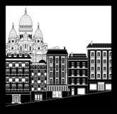 Εικονική παράσταση πόλης Montmartre Στοκ εικόνα με δικαίωμα ελεύθερης χρήσης