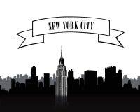 Εικονική παράσταση πόλης NYC Αστικό silgouette οριζόντων πόλεων πέρα από το άσπρο baackgro ελεύθερη απεικόνιση δικαιώματος