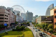 Εικονική παράσταση πόλης Yokohama με τη ρόδα Ferris Στοκ Φωτογραφίες