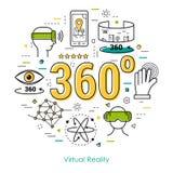 Εικονική πραγματικότητα 360 - έννοια τέχνης γραμμών Στοκ εικόνες με δικαίωμα ελεύθερης χρήσης