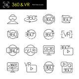 Εικονική πραγματικότητα & 360 πανοραμικού άποψης συμβόλων βαθμοί συνόλου εικονιδίων, λεπτό ύφος κτυπήματος γραμμών Στοκ Εικόνες