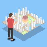 Εικονική πραγματικότητα Προβολή σχεδίων πόλεων διανυσματική απεικόνιση