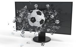 Εικονική πραγματικότητα, σπασμένη σφαίρα γυαλιού στην οθόνη, τρισδιάστατη απόδοση Στοκ φωτογραφίες με δικαίωμα ελεύθερης χρήσης