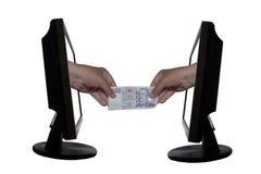 Εικονική πληρωμή από την έννοια Διαδικτύου - επιχειρήσεων Διαδικτύου - επιτυχία εργασίας ομάδων Στοκ Εικόνες