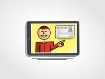 Εικονικός δάσκαλος που παρουσιάζει ένα πιστοποιητικό μέσω της ταμπλέτας Στοκ φωτογραφία με δικαίωμα ελεύθερης χρήσης