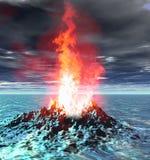 εικονικό ηφαίστειο σκηνής φλογών πυρκαγιάς έκρηξης ελεύθερη απεικόνιση δικαιώματος