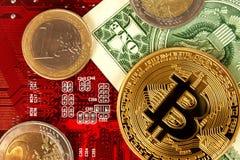 Εικονικό νόμισμα Bitcoin Εμπορικές συναλλαγές με Bitcoin Ο κίνδυνος ένα εικονικό νόμισμα Στοκ εικόνα με δικαίωμα ελεύθερης χρήσης