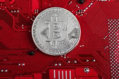 Εικονικό νόμισμα Bitcoin Εμπορικές συναλλαγές με Bitcoin Ο κίνδυνος ένα εικονικό νόμισμα Crypto έννοια υποβάθρου νομίσματος Στοκ Εικόνα