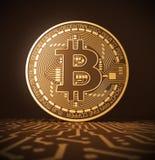 Εικονικό νόμισμα Bitcoin στον τυπωμένο πίνακα κυκλωμάτων διανυσματική απεικόνιση