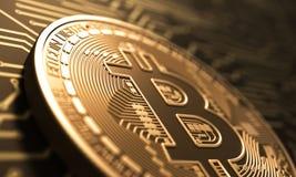 Εικονικό νόμισμα Bitcoin στο υπόβαθρο του τυπωμένου πίνακα κυκλωμάτων διανυσματική απεικόνιση