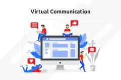Εικονικό σύγχρονο επίπεδο σχέδιο έννοιας επικοινωνίας Διάνυσμα illustr ελεύθερη απεικόνιση δικαιώματος