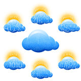 Εικονικό σύνολο πληροφοριών στοιχείων αποθήκευσης σύννεφων Στοκ εικόνες με δικαίωμα ελεύθερης χρήσης