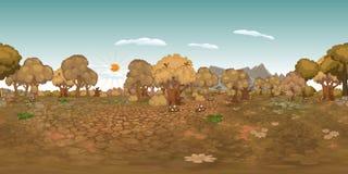 Εικονικό υπόβαθρο reaility πανοράματος του δάσους το φθινόπωρο Στοκ Εικόνες