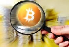 Εικονικό cryptocurrency Bitcoin χρημάτων - Bitcoins αποδεκτό εδώ στοκ φωτογραφίες