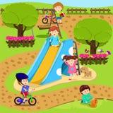 Εικονογράφος του παιδιού στην παιδική χαρά Στοκ Εικόνα