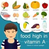Εικονογράφος των τροφίμων υψηλός στη βιταμίνη Α απεικόνιση αποθεμάτων