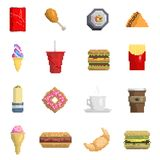 Εικονοκυττάρου γλυκό σημάδι φρούτων εικονιδίων γρήγορου φαγητού διανυσματικό γρήγορου γεύματος υπολογιστών της αναδρομικής παιχνι ελεύθερη απεικόνιση δικαιώματος
