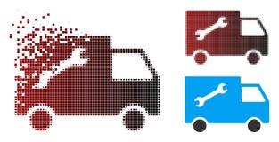 Εικονοκύτταρο Halftone Repair Van Icon Destructed διανυσματική απεικόνιση