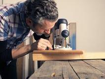Εικόνα έννοιας ξυλουργικής ή joinery Στοκ εικόνες με δικαίωμα ελεύθερης χρήσης