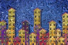 Εικόνα έννοιας στέγασης κοινής ωφελείας έναν αστικό ορίζοντα που χρωματίζεται με στο α Στοκ Φωτογραφία