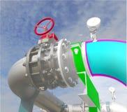 Εικόνα έννοιας σχεδίου CAD υπολογιστών Wireframe βιομηχανική σωλήνωση ι στοκ φωτογραφίες με δικαίωμα ελεύθερης χρήσης