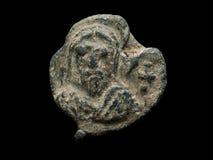 Εικόνα Αγίου στην αρχαία μετα σφραγίδα φιαγμένη από μόλυβδο Στοκ Φωτογραφία