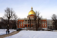 Εικόνα αποθεμάτων ενός χιονίζοντας χειμώνα στη Βοστώνη, Μασαχουσέτη, ΗΠΑ Στοκ φωτογραφία με δικαίωμα ελεύθερης χρήσης